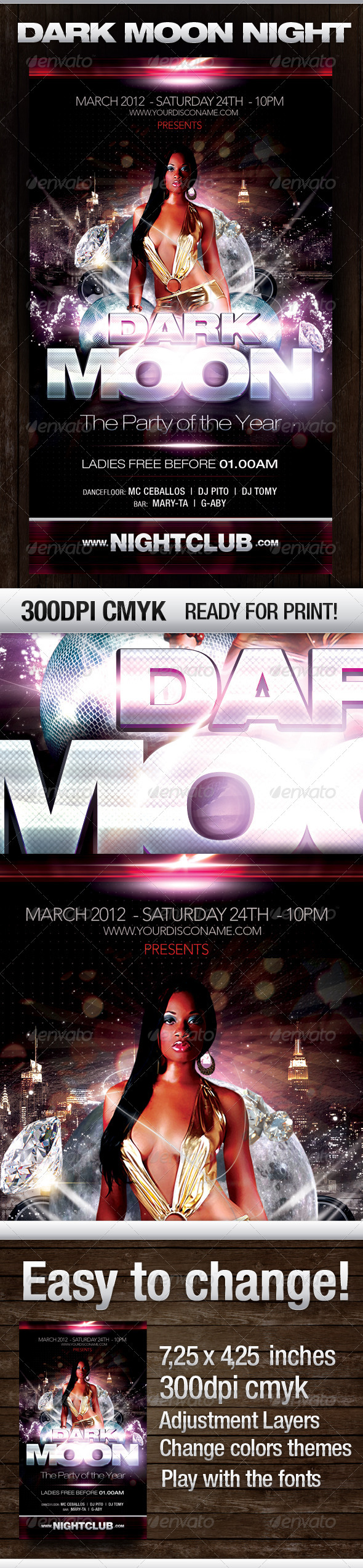 Dark Moon Party Flyer - Flyers Print Templates