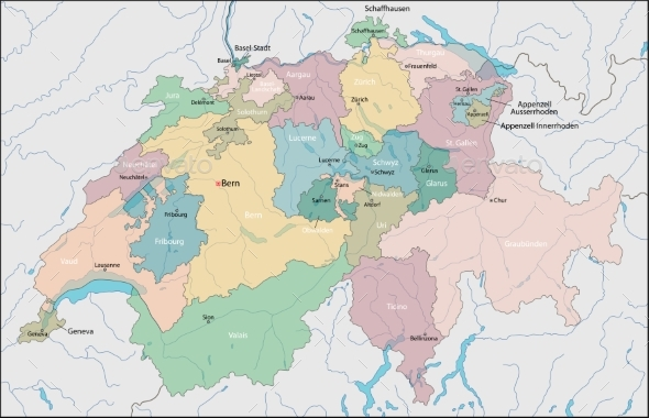 Map of Switzerland - Miscellaneous Vectors