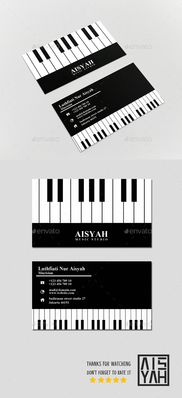 Business Card Piano - Business Cards Print Templates