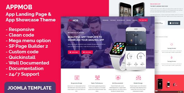 App Landing Page & App Showcase Joomla Responsive Template - APPMOB
