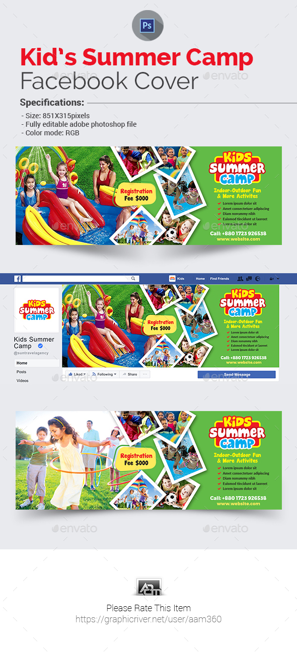 Kids Summer Camp Facebook Cover - Facebook Timeline Covers Social Media
