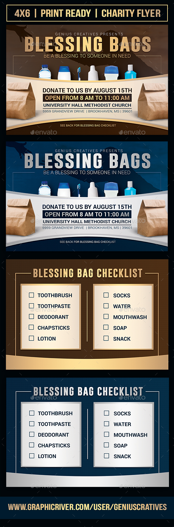 Blessing Bag Charity Church Flyer Template - Church Flyers