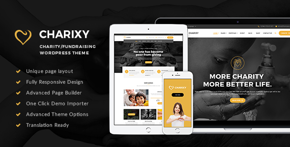 Charixy - Charity/Fundraising WordPress Theme | Charity WordPress - Charity Nonprofit