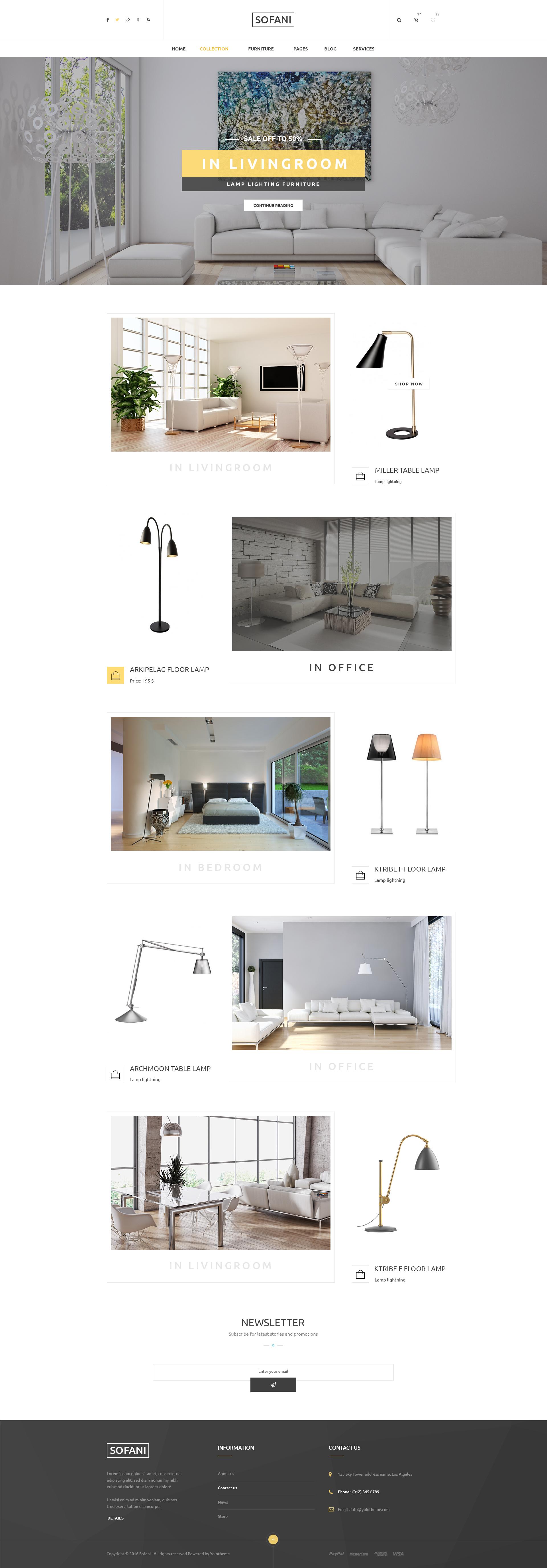 Sofani Furniture Store HTML Template by YoloPSD ThemeForest