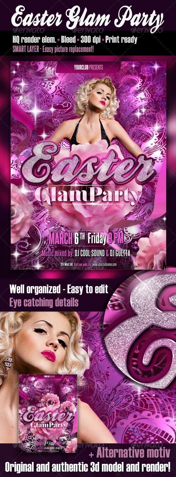 Easter Glam Party Flyer - Clubs & Parties Events