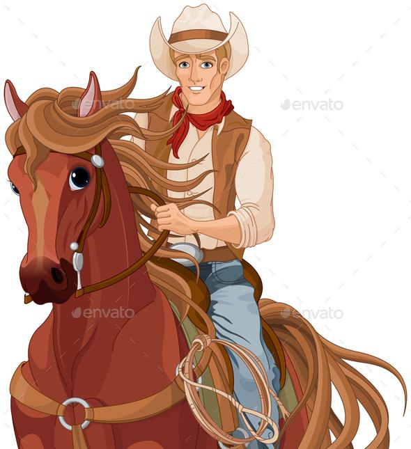 Horse Riding Cowboy - Characters Vectors