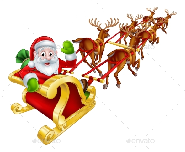 Santa and Reindeer Christmas Sleigh - Seasons/Holidays Conceptual