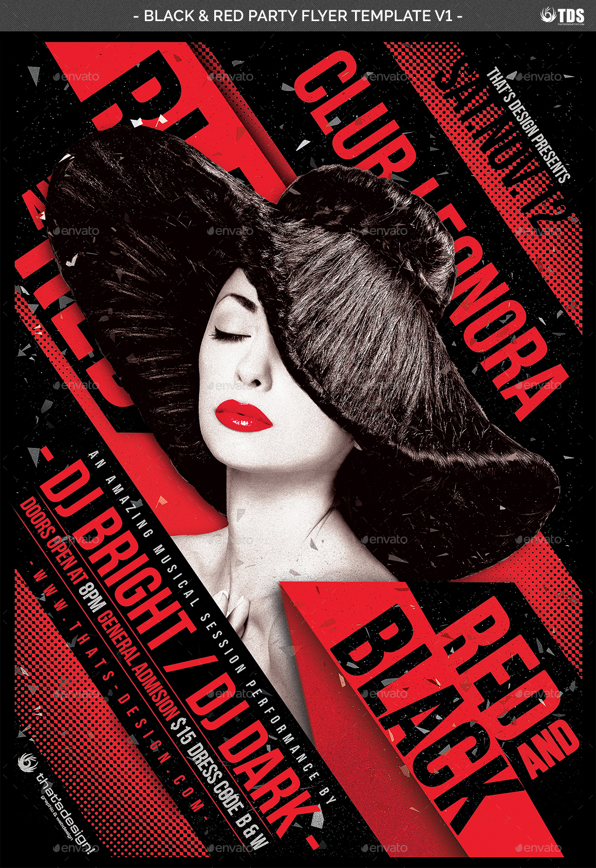 black and red party flyer template v1 by lou606