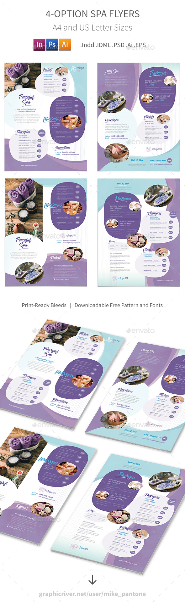 Spa Flyers 8 – 4 Options - Corporate Flyers