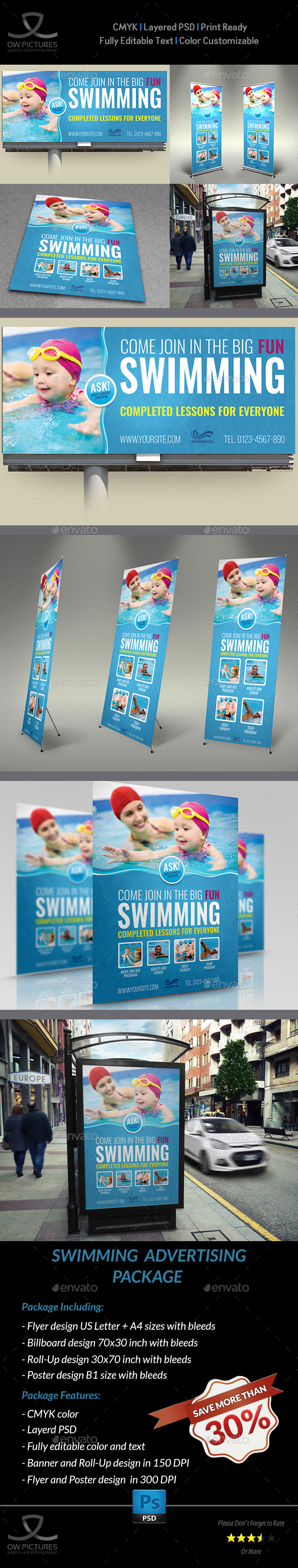 Swimming Advertising Bundle - Signage Print Templates