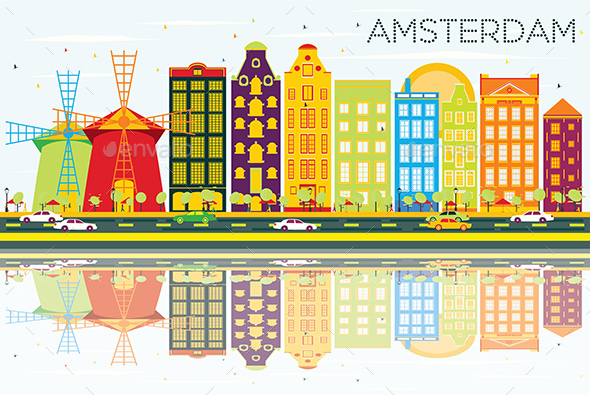 Abstract Amsterdam Skyline with Color Buildings, Blue Sky and Reflections. - Buildings Objects