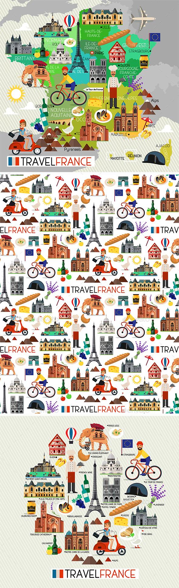 France Travel Set - Travel Conceptual