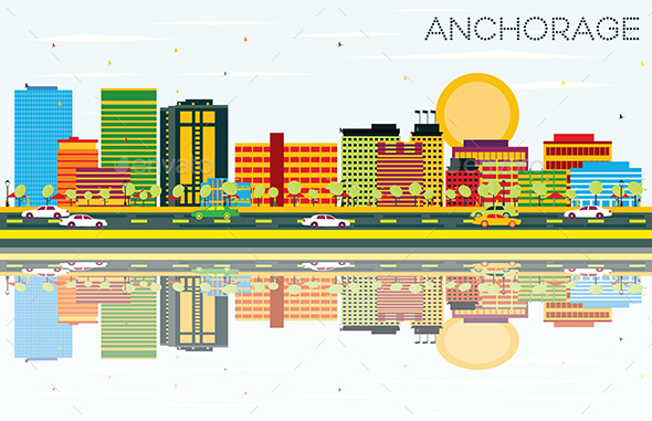 Anchorage Skyline with Color Buildings, Blue Sky and Reflections. - Buildings Objects