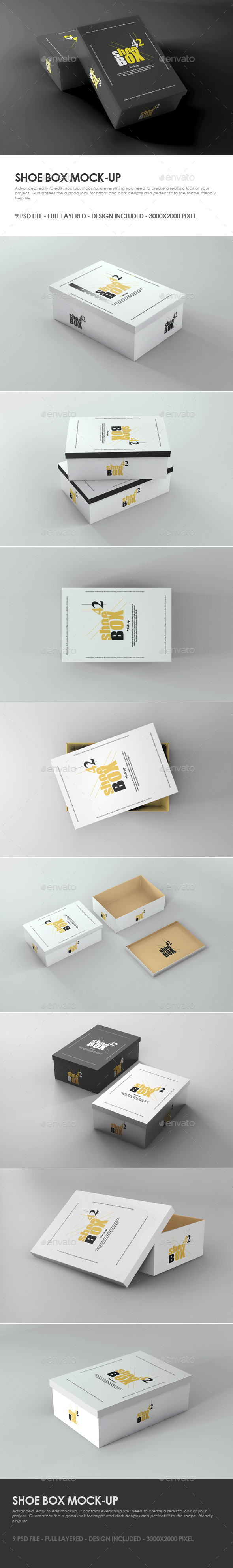 Shoe Box Mock-up - Packaging Product Mock-Ups