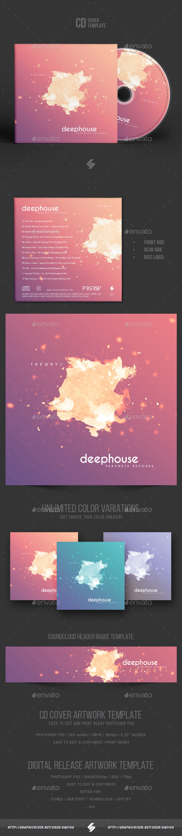 Deep House Theory - CD Cover Artwork Template - CD & DVD Artwork Print Templates
