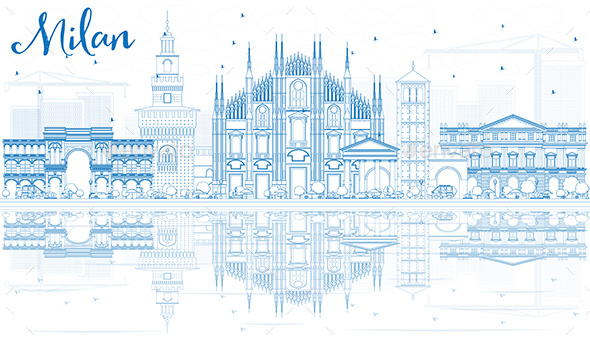 Outline Milan Skyline with Blue Landmarks and Reflections. - Buildings Objects