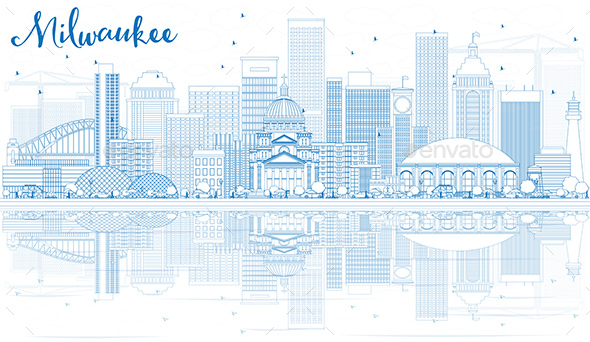 Outline Milwaukee Skyline with Blue Buildings and Reflections. - Buildings Objects
