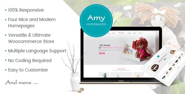 Amy Handmade - Blog and Shop WordPress Theme - WooCommerce eCommerce