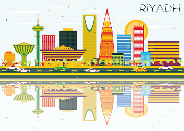 Riyadh Skyline with Color Buildings, Blue Sky and Reflections. - Buildings Objects