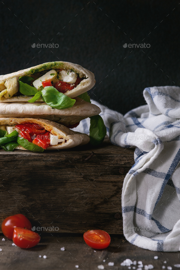 Pita bread sandwiches with vegetables - Stock Photo - Images