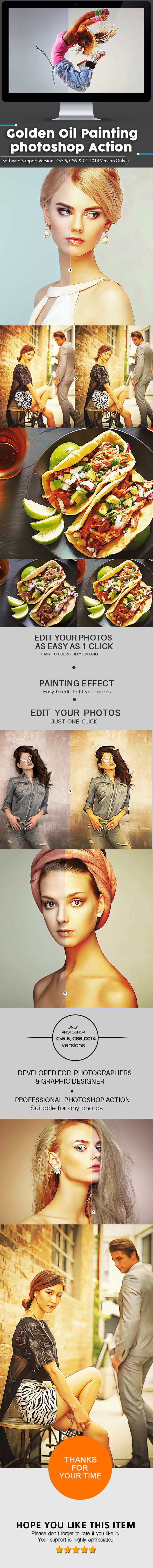 Golden Touch Oil Paint Photoshop Action - Actions Photoshop