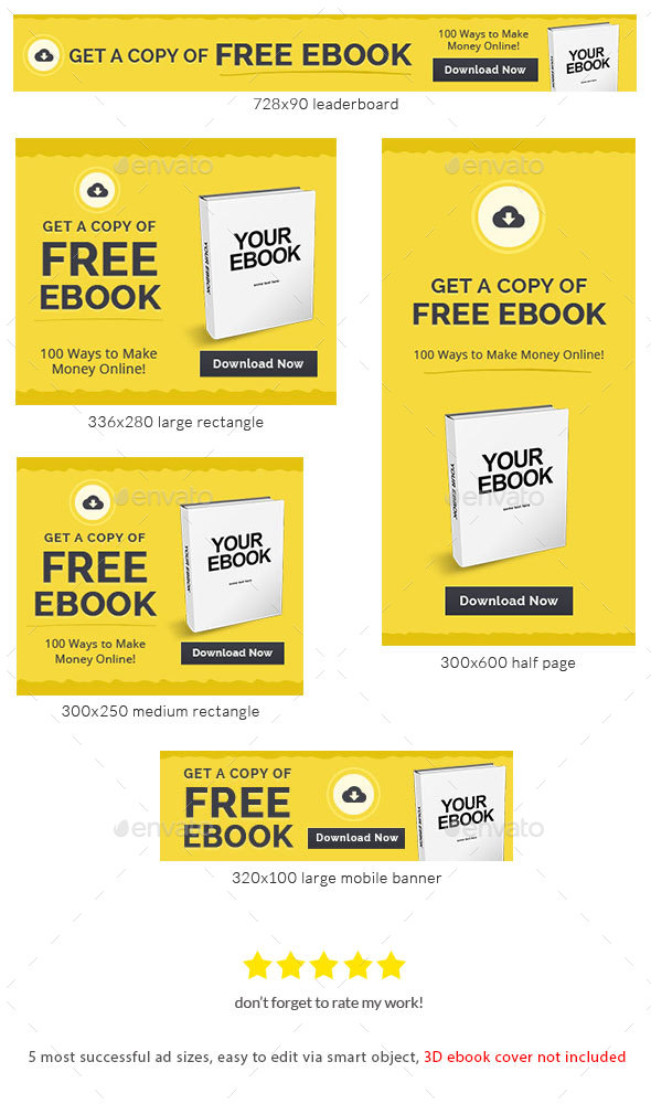 Cheap Ebook Banner Template - Banners & Ads Web Elements