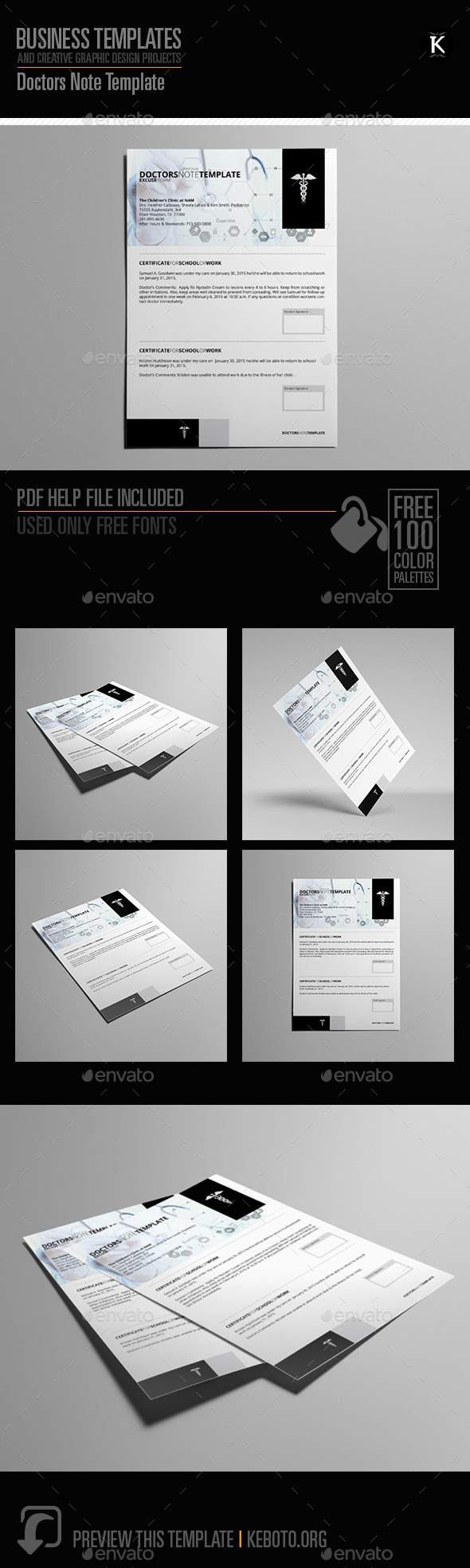 Doctors Note Template by Keboto | GraphicRiver