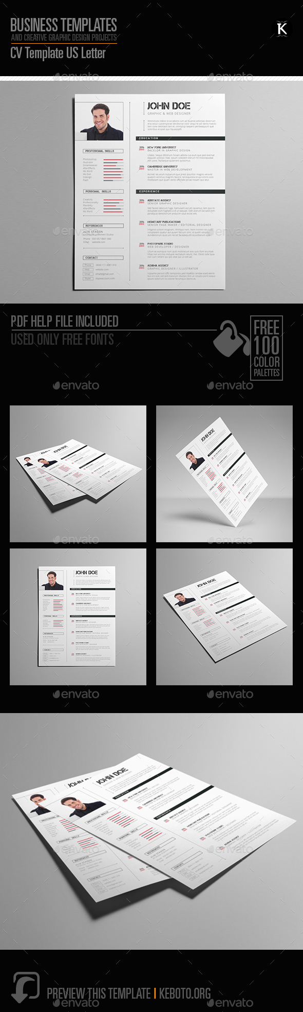CV Template US Letter - Resumes Stationery
