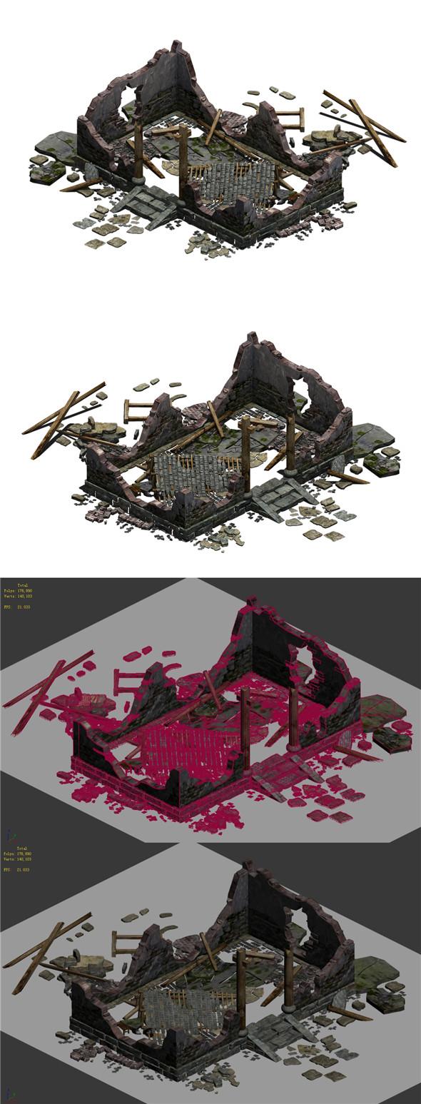 Buildings - ruins 002 - 3DOcean Item for Sale