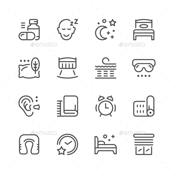 Set Line Icons of Sleep - Man-made objects Objects