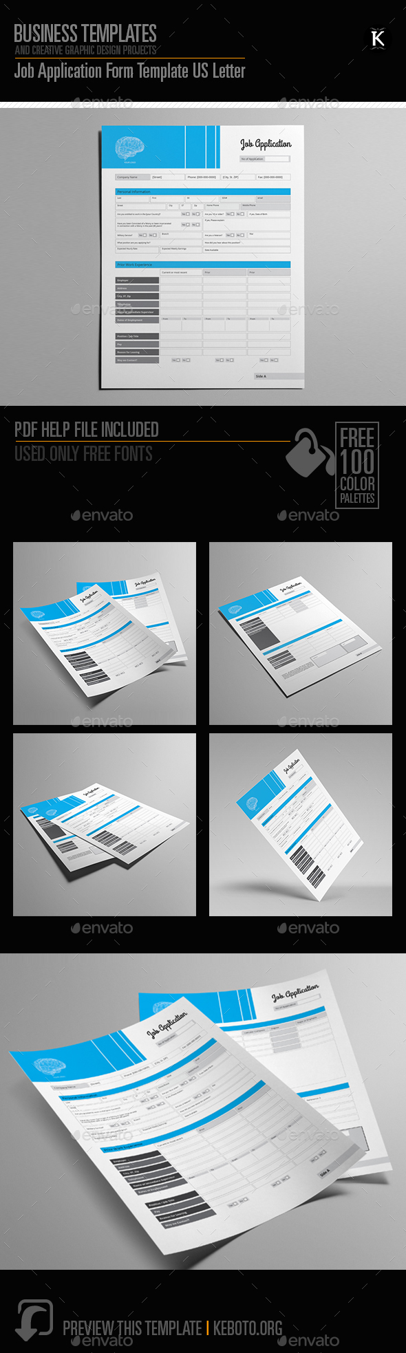 Job Application Form Template US Letter by Keboto | GraphicRiver