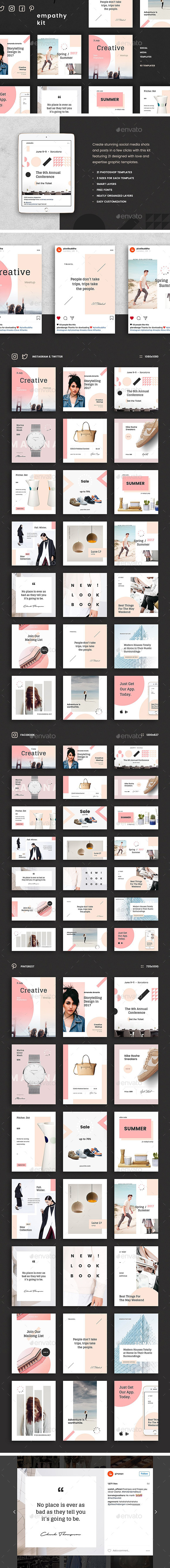 Empathy Social Media Kit: Instagram, Pinterest, Twitter & Facebook Templates - Social Media Web Elements