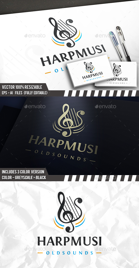 Harp Music Logo - Symbols Logo Templates