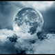 Flying Above the Clouds to the Moon at Night - VideoHive Item for Sale