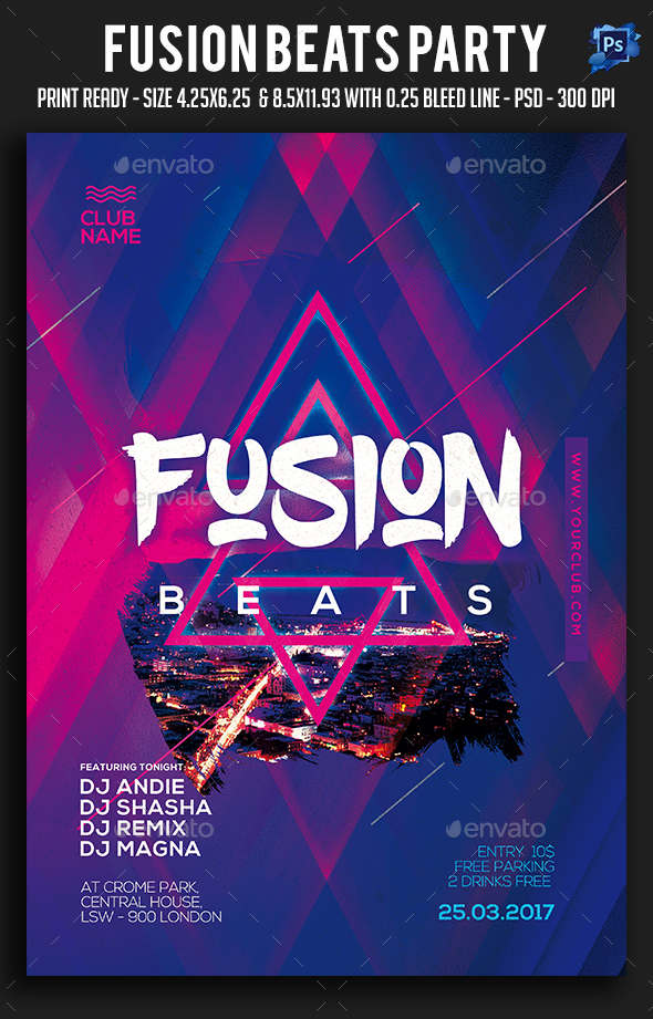 Fusion Beats Party Flyer - Clubs & Parties Events