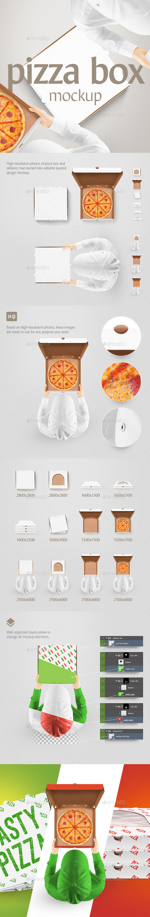 Pizza Box Mockup - Food and Drink Packaging