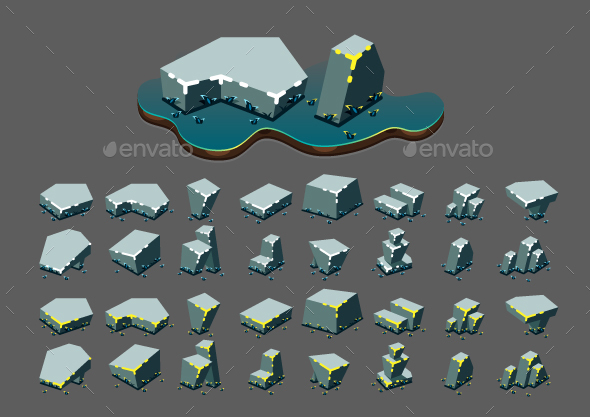 Isometric Stones at Night for Creating Video Games - Objects Vectors