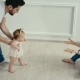 Dad Teaches His Little Daughter To Walk. Baby's First Steps - VideoHive Item for Sale