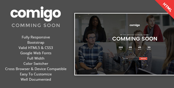 Comigo – Coming Soon HTML Template