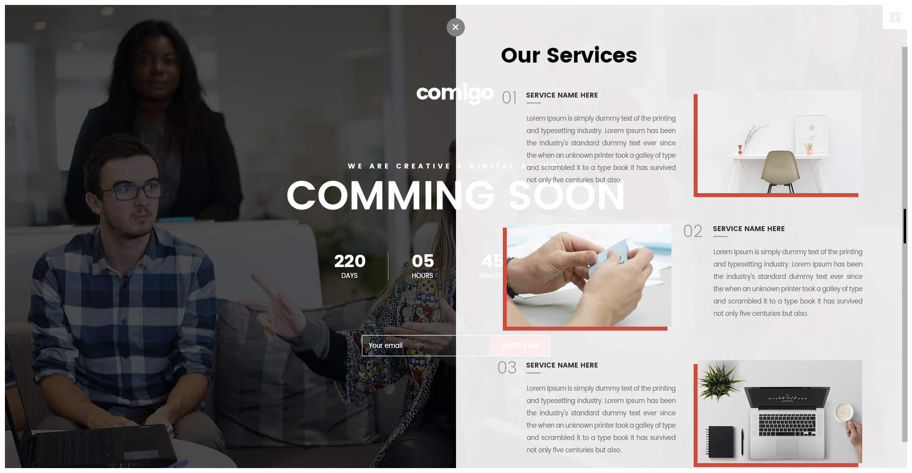 Comigo - Coming Soon HTML Template by Kalanidhithemes | ThemeForest