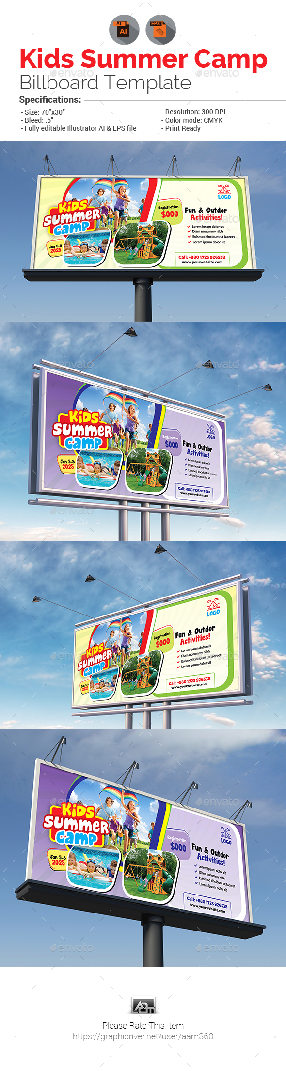 Kids Summer Camp Billboard - Signage Print Templates