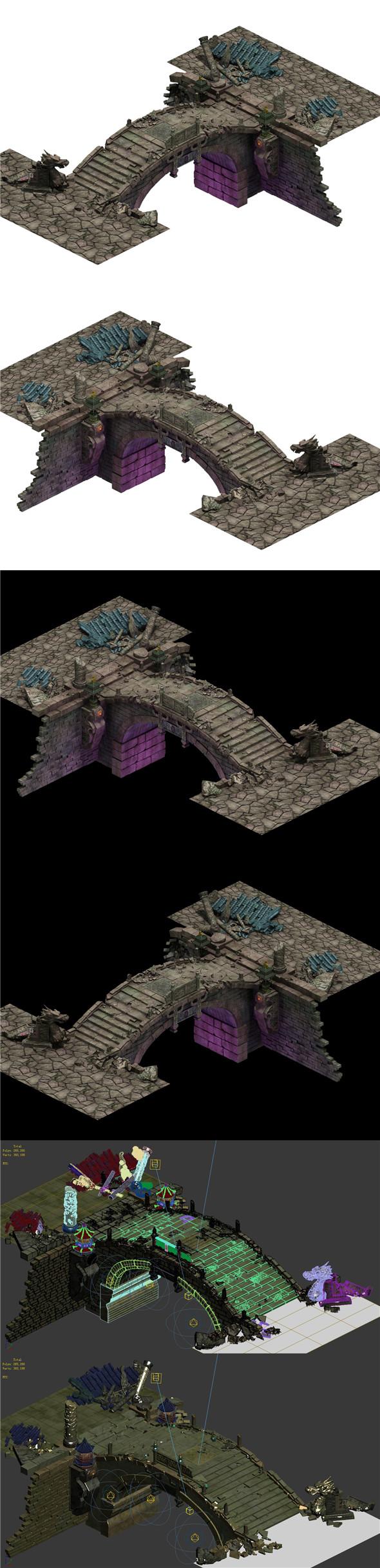 Building ruins - broken stone bridge - 3DOcean Item for Sale