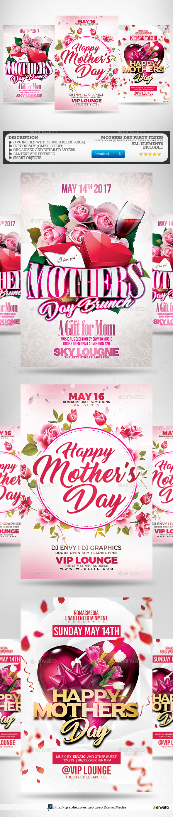 Mothers Day Flyer Bundle   Clubs U0026 Parties Events