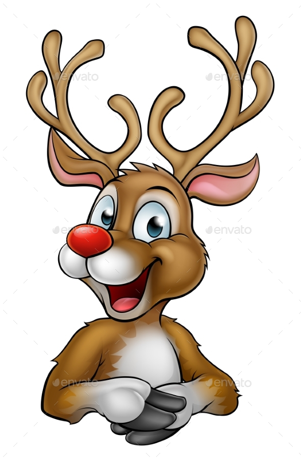 Christmas Reindeer Cartoon - Christmas Seasons/Holidays