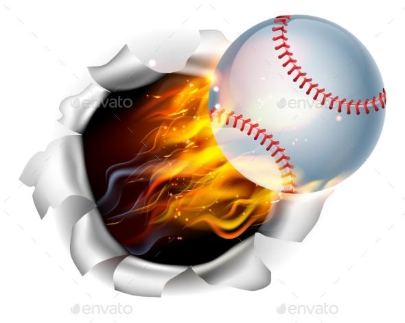 Flaming Baseball Tearing a Hole - Sports/Activity Conceptual