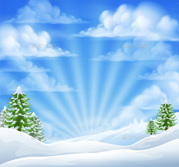 Christmas Snow Winter Background - Landscapes Nature
