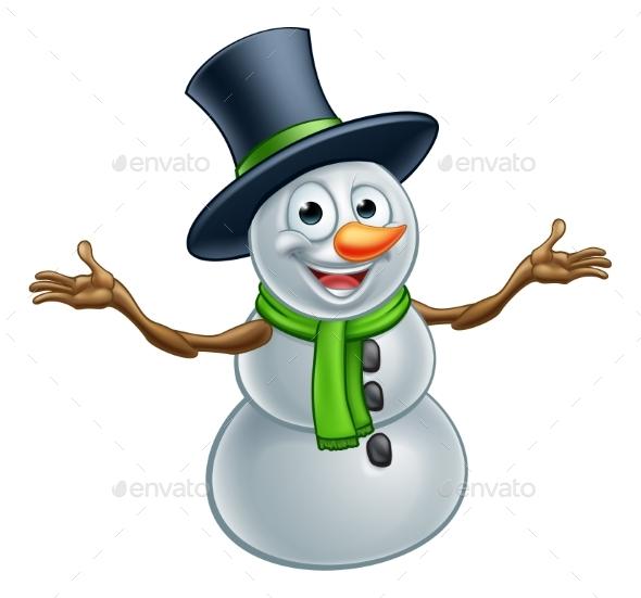Cartoon Christmas Snowman - Christmas Seasons/Holidays