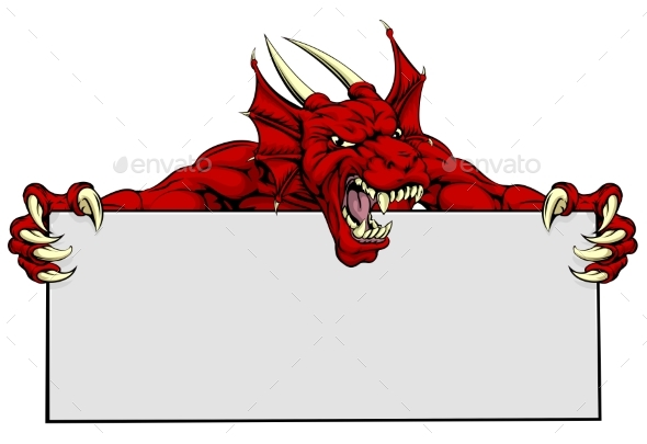 Red Dragon Sports Mascot Sign - Monsters Characters