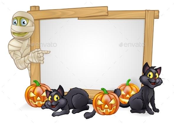 Cartoon Halloween Mummy Sign - Halloween Seasons/Holidays