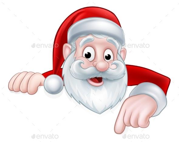 Peeking Cartoon Santa Pointing Down - Christmas Seasons/Holidays